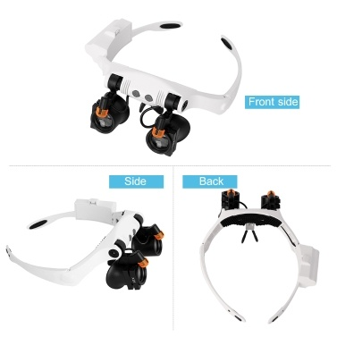 Headband Magnifier Eye Loupes Eyeglass Style Hands-Free Magnifying Glass Multiple Magnifications with Warm and Cool LED Lights
