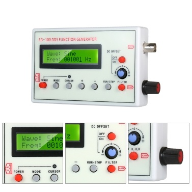 1HZ-500KHZ FG-100 DDS Functional Signal Generator Sine Triangle Square Sawtooth ECG Noise Output Frequency Meter Signal Source Module Frequency Counter