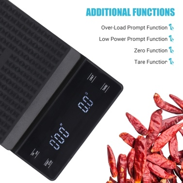 0.3g ~3000g High Precision Digital Scale with Waterproof Surface Electronic Scale LED Display with Backlight Portable Kitchen Scale Baking Scale Coffee Scale