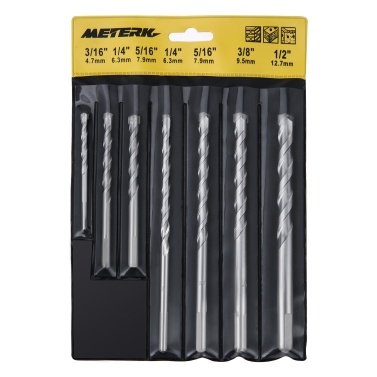 Meterk MK23 7PCS Cement Masonry Drill Bit Set with Sandblasting Surface Treatment