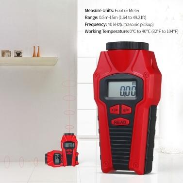 Tragbarer kompakter Ultraschall-Entfernungsmesser Entfernungsmesser Entfernungsmesser Telemeter Lasermessbereich Volumenberechnung (ohne Batterie)