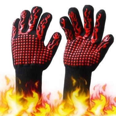 Luvas de churrasco com silicone Listras antiderrapantes Luvas de forno à prova de calor 500 ~ 800 ℃ Luvas resistentes ao calor da grade para churrasco ao ar livre Churrasqueira no jardim Cozinha Cozinhar Soldagem