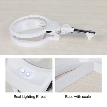 Multi-functional Foldable Magnifier 130mm 2.5X 25mm 5X with 2 LED Lights Measurement Scale Desk Table Magnifying Tool