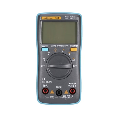 RICHMETERS RM100 True RMS Multifunctional LCD Digital Multimeter DMM DC AC Voltage Current Resistance Diode Continuity Capacitance Frequency Duty Tester Measurement Automatic Polarity Identification Ammeter Voltmeter Ohm