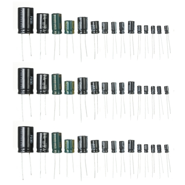 120 stücke 15 Werte 1uF-2200uF 50 V Elektrolytkondensatoren Assorted Kit