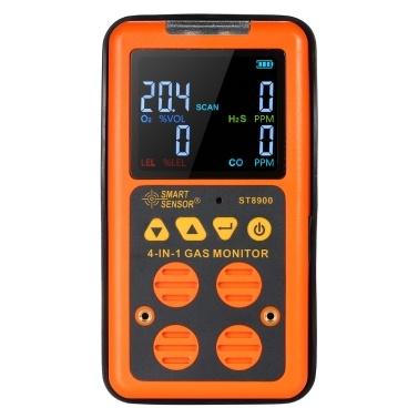 SMART SENSOR 4 in 1 Gasdetektor H₂S- und CO-Monitor Industrieller digitaler Handgasdetektor mit LCD-Display und leichtem Vibrationsalarm 100-240V
