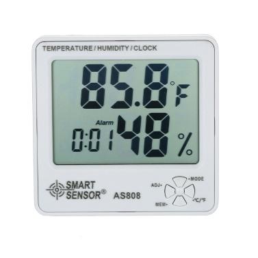 Smart Sensor AS808 Digital Hygrometer Thermometer Luftfeuchtigkeit Temperaturmessgerät Tester Wetterstation mit Kalender und Wecker
