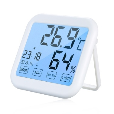 Multifunctional Touch Screen Backlight Digital Indoor Thermometer Hygrometer Alarm Clock u00b0C/u00b0F Temperature Humidity Time Date Display Thermo-Hygrometer