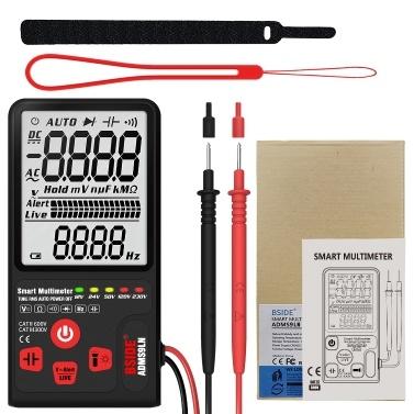 BSIDE 9999 Counts Smart Multimeter True RMS Digital Multimeter Measuring AC/DC Voltage Resistance Frequency LCD Display DC/AC Voltage Meter Resistance Capacitance Diode Tester Measure Continuity V ~ Alert Live Wire Check