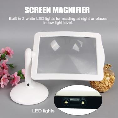 3X Lupe Helle LED-Lesehilfslupe Multifunktions-Desktop-Lupe mit 360-Grad-Drehbildschirm
