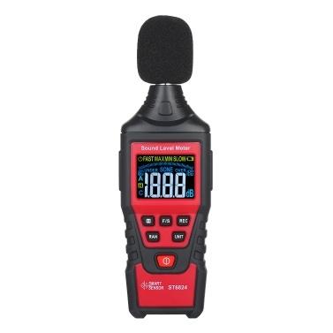 SMART SENSOR ST6824 Digitales Dezibel-Messgerät LCD-Farbbildschirm Handgeräusch-Geräuschpegelmesser mit Werkzeugtasche Bereich von 30-130 dB (gewichtet) für Kinder im Klassenzimmer (Batterie nicht im Lieferumfang enthalten)
