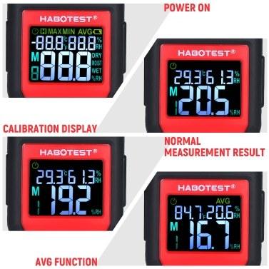 HABOTEST Wood Moisture Meter 0-99.9% Digital Wood Hydrometer with 2 Pin Probe Wood Moisture Tester