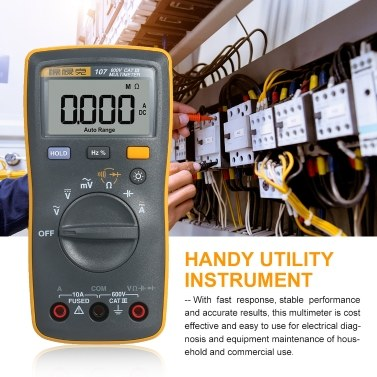 FLUKE 6000 Counts Mini Palm-sized Multimeter Digital Multimeter Handheld Voltmeter Portable Ammeter Voltage Meter Universal Meter Measuring AC/DC Voltage AC/DC Current Resistance Capacitance Continuity Frequency Duty Cycle Diode