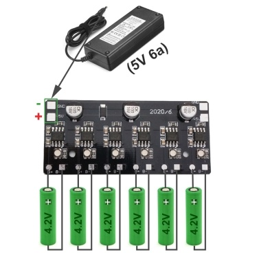 5V Lithium Battery Recharging Module Board Max Support Recharge 6 Batteries
