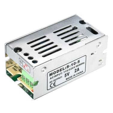 Wechselstrom 110V / 220V zu DC 5V 2A 10W justierbarer Schalter-Stromversorgungs-Spannungs-Transformator für LED-Streifen-Licht