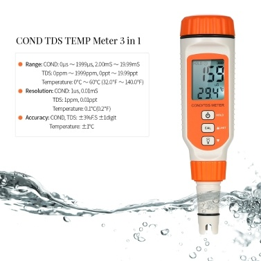 SMART SENSOR 3 in 1 Water Quality Tester Pen for Aquarium Household Drinking Solution with ATC Function and Backlight