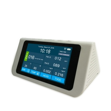 """Multifunctional Professional High Accuracy 7"""" Large Screen PM2.5 PM1.0 PM10 HCHO TVOC AQI Detector Thermometer Hygrometer Air Quality Analyzer with Time Calendar Alarm Clock Display"""
