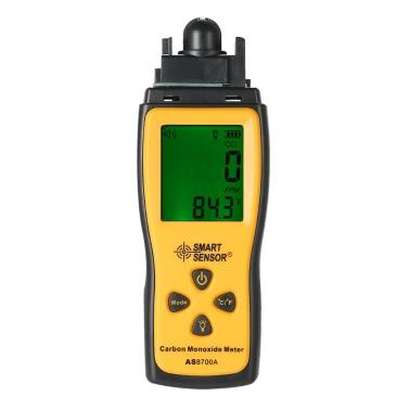 SMART SENSOR Handheld-Kohlenmonoxid-Messgerät mit hochpräzisen CO-Gas Tester Monitor Detektoranzeige LCD-Display Ton- und Lichtalarm
