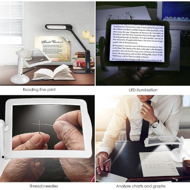 Handsfree 3X Reading Full-page Magnifier Table Light,limited offer $9.49
