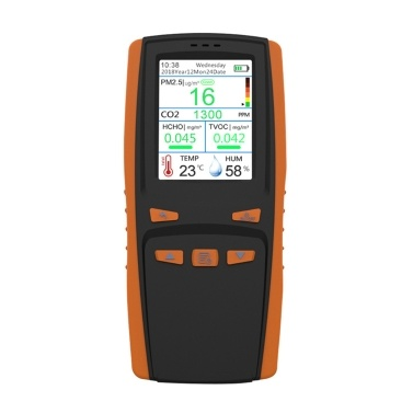 Professionelles HCHO TVOC PM2.5 CO2 AQI-Detektor-Multifunktions-Thermometer und Hygrometer-Luftqualitätsanalysegerät