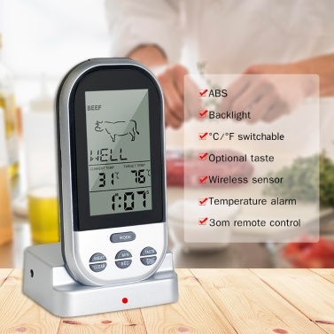 Meat Thermometer Digital LCD BBQ Thermometer with Backlight Food Meat Temperature Tester Probe for Kitchen with Alert and Wireless Data Transmission