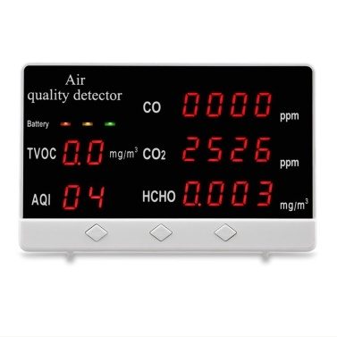 Multi-Functional Air Quality Detector Home Office School Use Digital Display HCHO/TVOC/CO/CO2/AQI Monitor