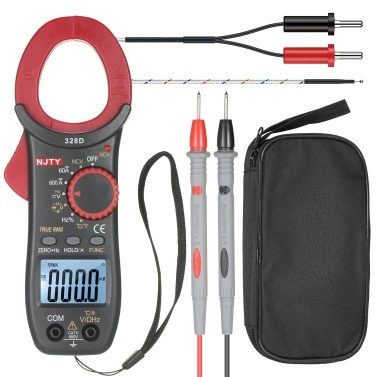 NJTY 328D 600A AC Clamp Meter Auto Range 6000 Counts 1.6-inch LCD Digital AC True RMS NCV Clamp Type Universal Meter