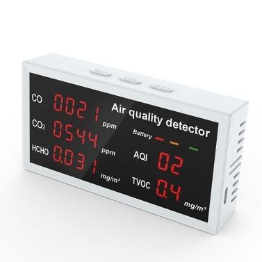 5-in-1-Multifunktionaler Luftqualitätsdetektor LED-Anzeige CO CO2 HCHO TVOC AQI-Überwachung