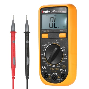 RuoShui Pocket 1999 Counts Auto Range True RMS Multi-functional Digital Multimeter DMM DC AC Voltage Current Meter Resistance Diode Capacitance Frequency Tester Continuity Test HZ Backlight LCD Display