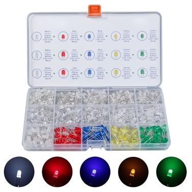 600 Stück Leuchtdiode Anzug diffundiert und klar Runde LED Light Kid Portable Box