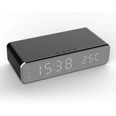 Wireless Charger Schreibtischuhr LED Digitaluhr Temperaturmesser ℃ / ℉ Umschaltbares Wireless-Ladegerät Multifunktionaler LED-Wecker mit Kalender für den Home Office-Schlafsaal