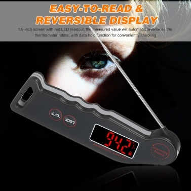 1.9-inch LED Digital Food Temperature Meter Instant Read Meat Soup Beverage Food Thermometer Accurate and Easy Cooking Thermometer with Magnet Adsorption for Cooking Grilling BBQ