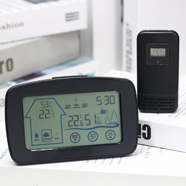 YJ-5003 LCD Digital Clock Temperature Color Weather Station with Sensor Wireless Weather Clock Electronic Clock
