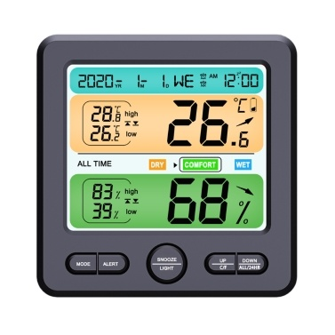 LCD Display Wall-mounted Desktop Indoor High-precision Temperature and Humidity Meter Household Electronic Alarm Clock Intelligent Home