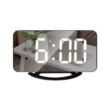 LED Mirror Clock Mini Digital Alarm Clock Table Clock Snooze Function 3 Adjustable Brightness Auto-Adapt Backlight