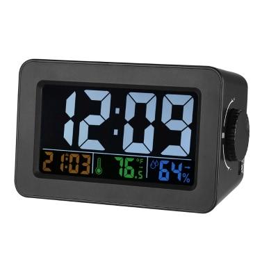 LCD u2103/u2109 Digital Thermometer Hygrometer Clock Temperature Humidity Meter Alarm Clock Snooze Backlight Color Screen Display