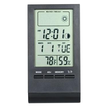 Mini Digital Thermometer Indoor Hygrometer Room ℃ / ℉ Temperatur-Feuchtemessgerät Messinstrument Wecker Thermo-Hygrometer mit Anzeige für max