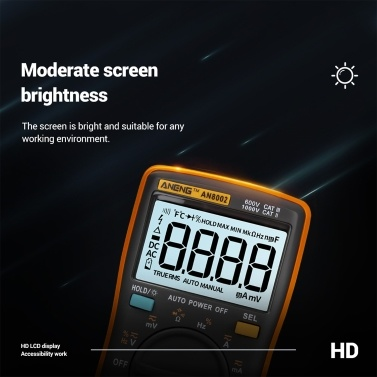 ANENG AN8002 6000 Zählt True RMS Multifunktions-Digitalmultimeter Voltmeter Amperemeter Handheld Mini Universal Meter Hohe Genauigkeit Temperatur messen AC / DC-Spannung AC / DC-Strom Widerstand Kapazität Frequenz Duty Cycle Diode Tester
