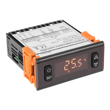 10A 90-250V Digital LED-Temperaturregler Thermostatregler mit Thermoelement-Sensor Thermometer