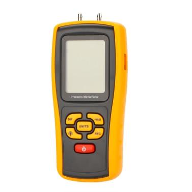 GM520 Portable USB Digital LCD Pressure Manometer Gauge Differential Pressure Manometer Measuring Range 35kPa Temperature Compensation