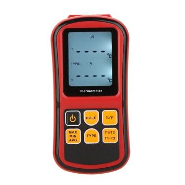 KKmoon GM1312 Digitale Thermometer Zweikanal Temperatur Meter Tester für K/J/T/E/R/S/N Thermoelement mit LCD Hintergrundbeleuchtung