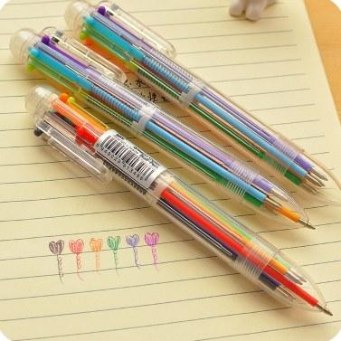 マルチカラー6 in 1カラーボールペンボールペンキッズスクールオフィス用品