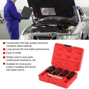 5Pcs/Set Twist Socket Kit 4 Damaged Worn Lug Nut & Lock Remover 17/19/21/22mm (Red)