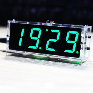 Kompakte 4-stellige DIY Digital LED Clock Kit Lichtsteuerung Temperatur Datum Zeitanzeige mit transparentem Gehäuse