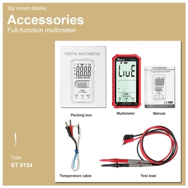 TOOLTOP ET8134 Portable 4.7 Inch High Definition LCD Screen Multimeter
