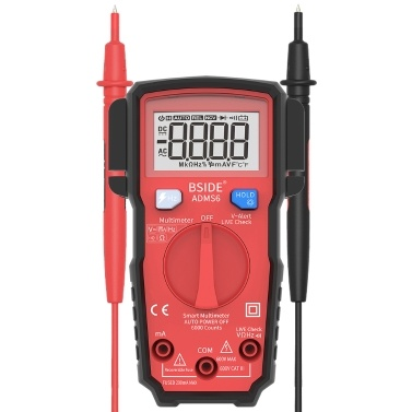 BSIDE Digital Multimeter 6000 Counts LCD Display True RMS Mini Universal Meter DMM Tester Auto-ranging Smart Multimeter Measure AC/DC Voltage Current Resistance Frequency