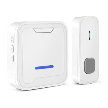 Intelligent Wireless Doorbell Set 300M Waterproof Doorbell Transmitter 55 Ring Tones Household Remote Control Music Doorbell Receiver EU Plug
