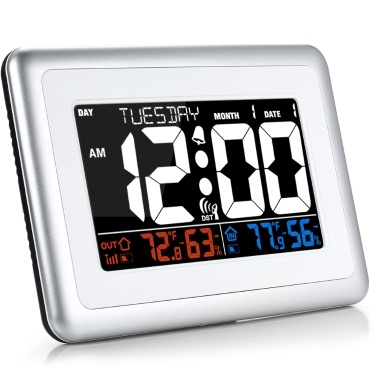 WWVB Alarm Clock Temperature Humidity Meter Weather Forecast Station Indoor Outdoor Thermometer Temperature Humidity Monitor American WWVB Signal Automatic Calibration