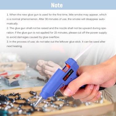 20W Schmelzklebepistole Heißschmelzklebermaschine DIY Klebepistole mit Schalterknopf Blau + 3 Stück 7mm Schmelzklebebügel
