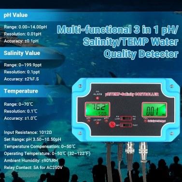 230V 3-in-1 pH/Salinity/TEMP Water Quality Detector pH/TEMP-Salinity Controller 14.00pH Value 0-199.9ppt Salinity Water Quality Tester for Aquarium Hydroponics Tank Monitor